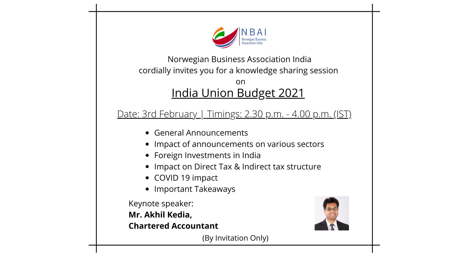 WEBINAR ON INDIAN UNION BUDGET 2021 BY NBAI INDIA