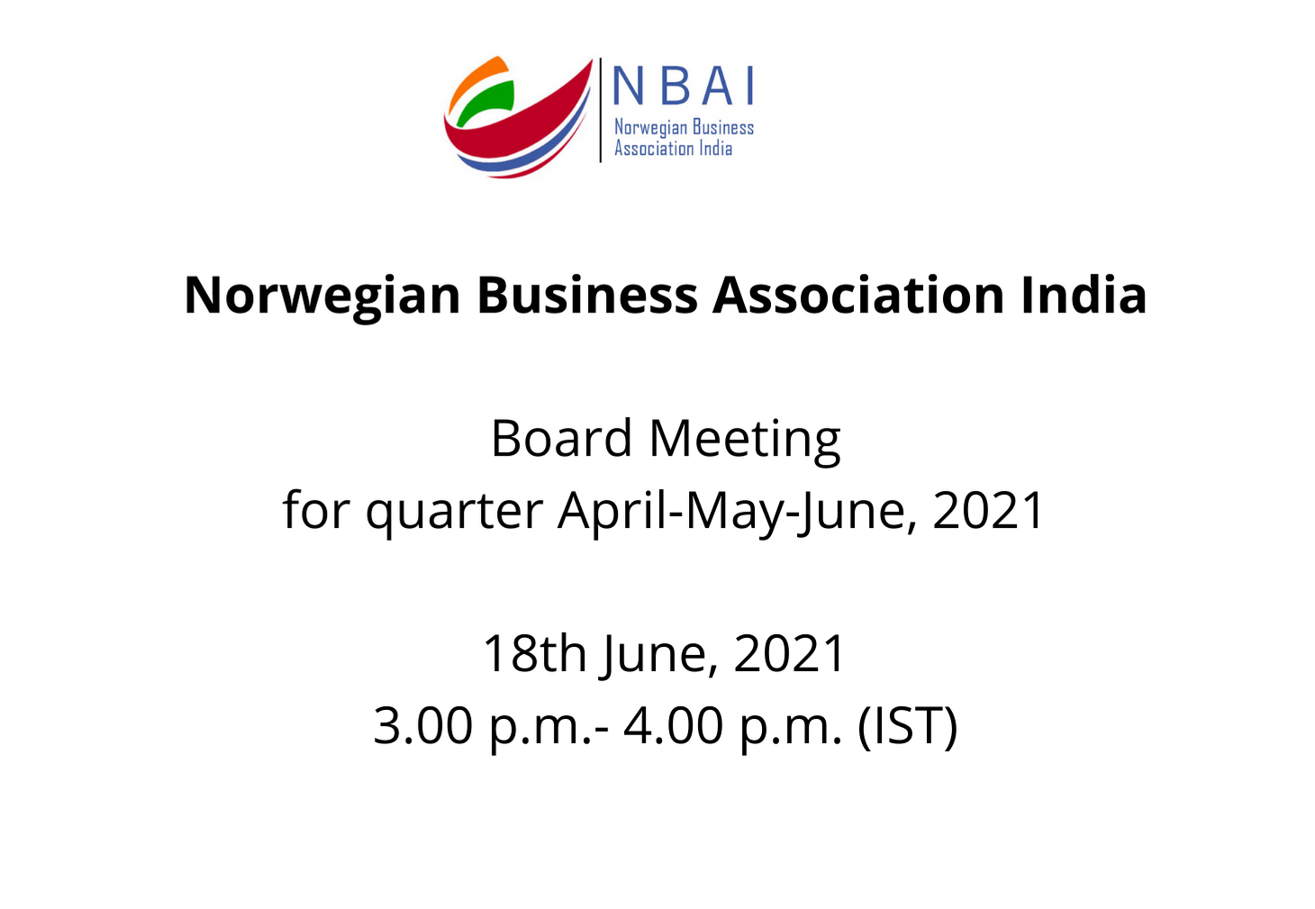 NBAI – BOARD MEETING FOR QTR. APRIL-MAY-JUNE, 2021