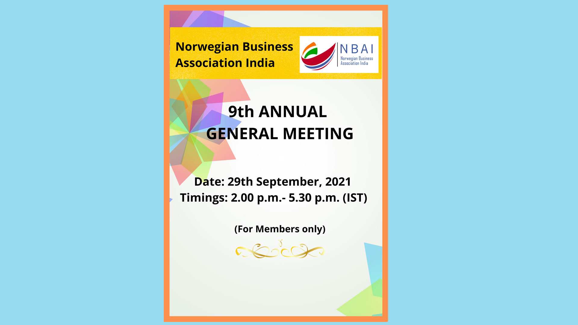 NBAI's 9th ANNUAL GENERAL BODY MEETING IS SCHEDULED ON THE 29th SEPT, 2021